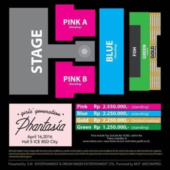 4TH GENERATION GIRLS' GENERATION 4th TOUR - Phantasia - In JakartaStage Layout & Ticket Price - Gold
