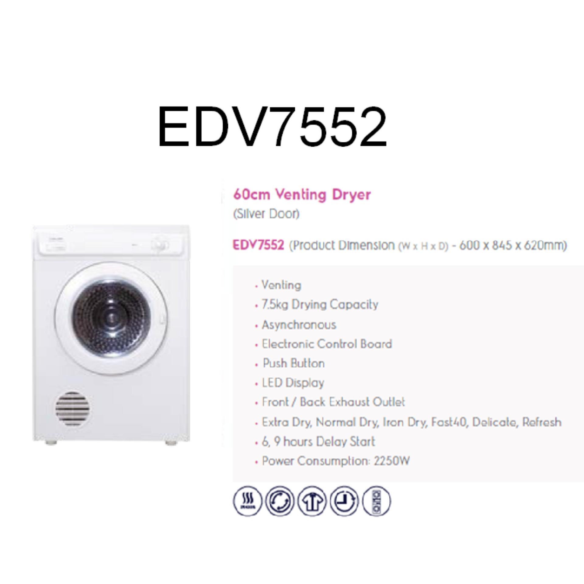 Electrolux Dryer EDV-7552 7.5Kg (Pengering) - Khusus JABODETABEK .