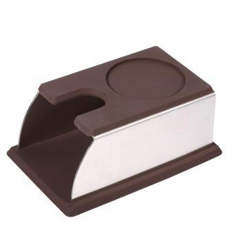 functional coffee powder making tamper stainless steel holder standrack silicone tool (black)(black) – intl