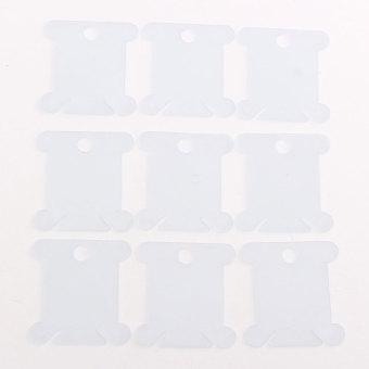 Harga 100 Buah plastik benang bordir & kerajinan benang bobbin untuk pemegang penyimpanan Biru