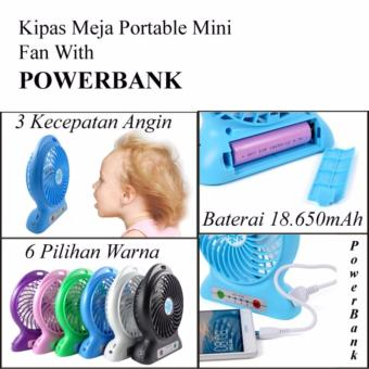 Lucky Kipas Angin Rechargeable Mini Baterry Charge Plus POWERBANK Function .