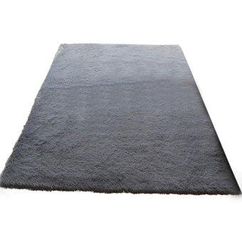 Fluffy Anti-skid Shaggy Area Rug Home Bedroom Floor Mat(Silver Grey) -