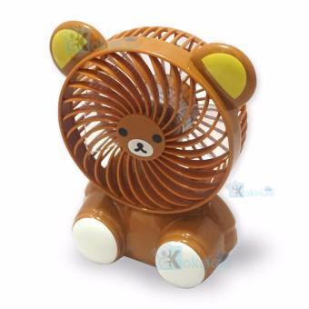 Kokakaa Kipas Angin Mini Portable Small Fan Karakter Baterai Charge & Usb Cable Bundle - Beruang Coklat - 2