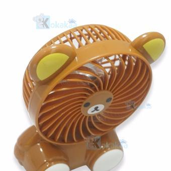 Kokakaa Kipas Angin Mini Portable Small Fan Karakter Baterai Charge & Usb Cable Bundle - Beruang Coklat - 5