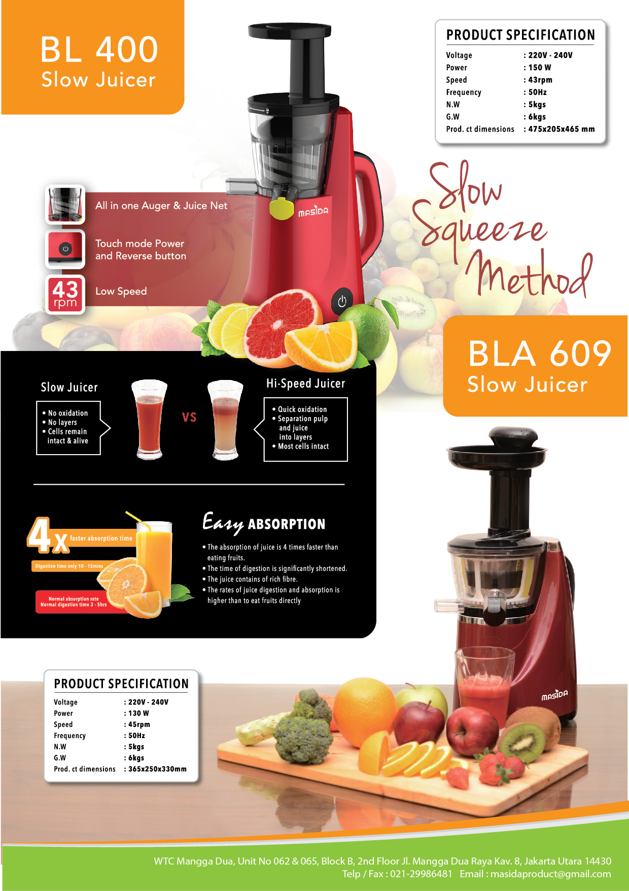 Masida Slow Juicer Pengejus Buah Bla 609 Fruit Extractor 45 Rpm Philips Hr1889 Plus Voucher Map Senilai 200000 Cold Press
