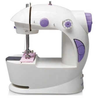 Mini Sewing Machine 4 in 1 with Flashlight Pedal and Adaptor New Generation - Mesin Jahit Mini 4 in 1 - Putih