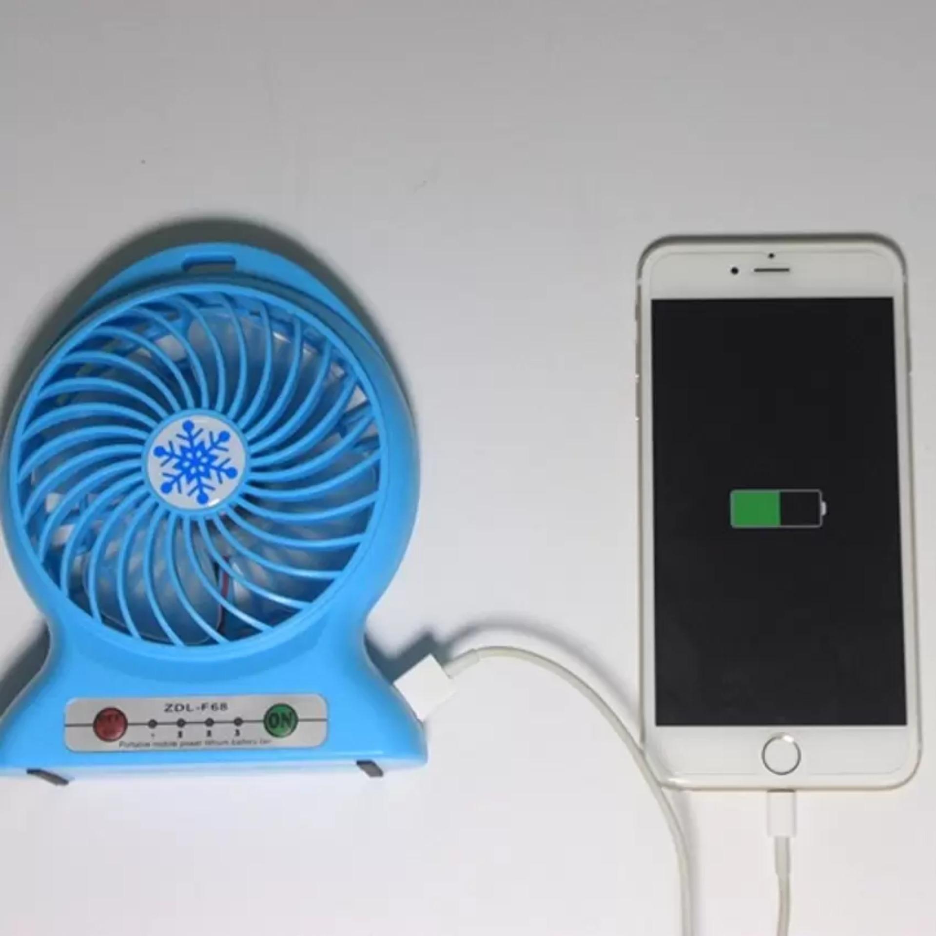 Portable Mini Fan Rechargeable: Kipas Angin Pendingin Recharge Cas Kecil ( Biru)