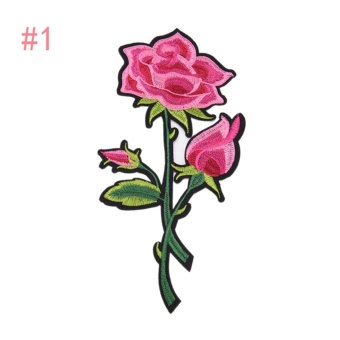 rose embroidered sewing on patch flower stickers for clothes applique #1: 27.2×13.7cm – intl