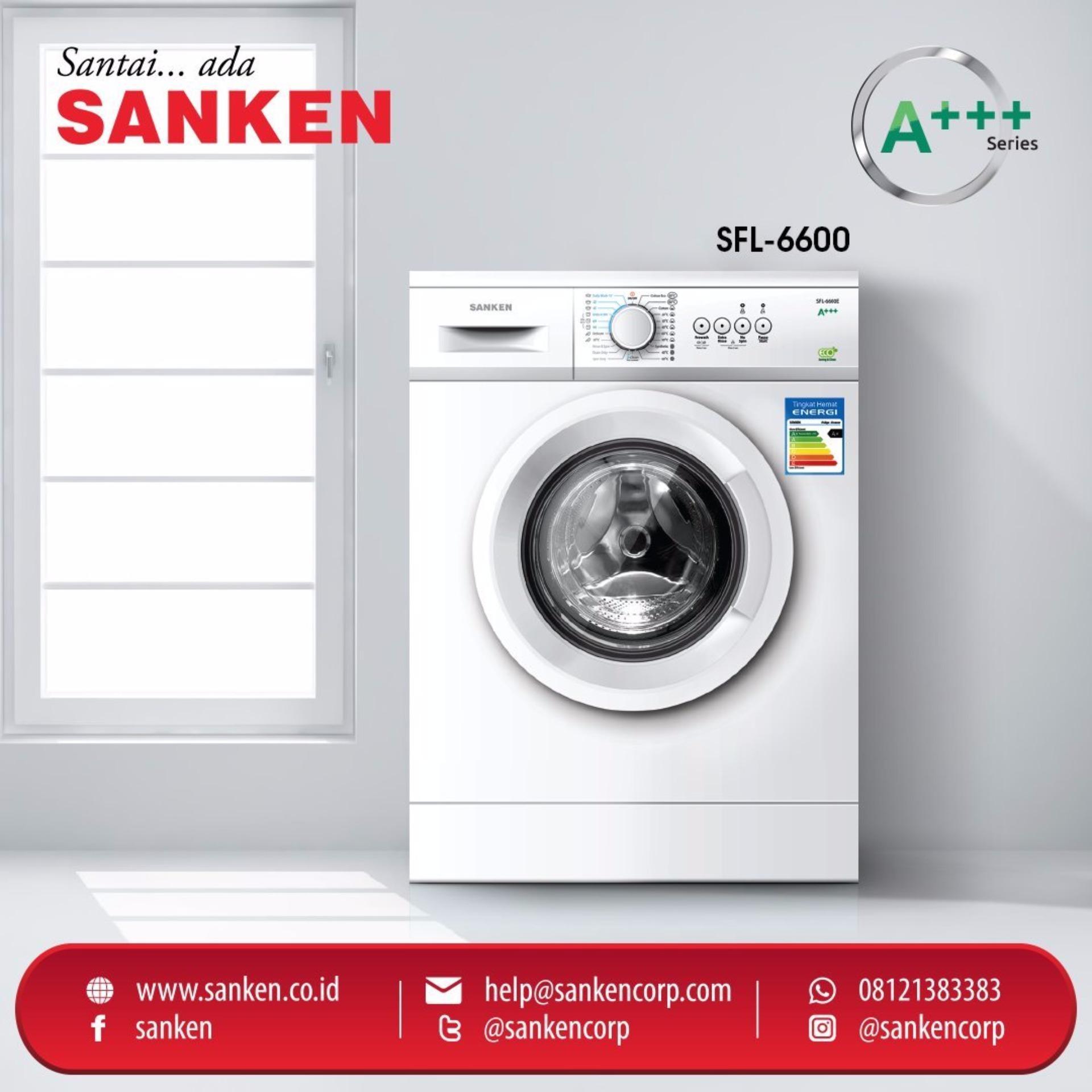 Bandingkan Toko Sanken Mesin Cuci Front Loading Sfl 6600e Free Samsung Washer Ww75k5210yw Ongkirjabodetabek