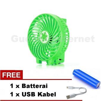 harga VOTRE Kipas Mini Lipat Portable Mini Fan SF-02 Hijau / Green + FreeBatrai + USB charger Lazada.co.id