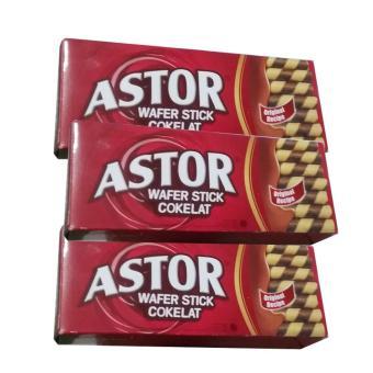 Astor Wafer Double Coklat - 3 Kotak - 150 gram - Rasa Gurih Nikmat Renyah Crispy