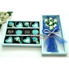 TrulyChoco Paket Chocogift and Bouquet Ulang Tahun – HAPPY B-DAY I (Love)