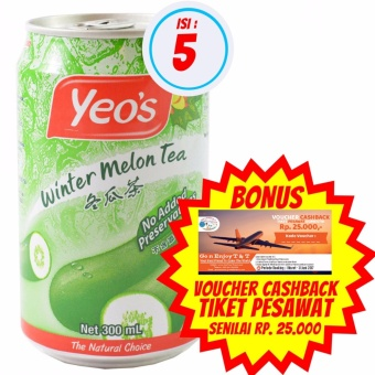 harga Yeo's - Minuman Rasa Teh Kundur / Winter Melon Tea 300ml | Isi 5 + Bonus Voucher Cashback Tiket Pesawat Senilai Rp. 25.000,- Lazada.co.id