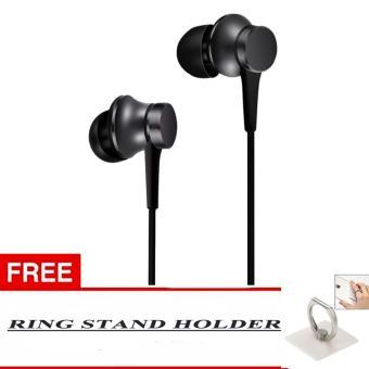 100% Xiaomi In Ear Piston Mi Original 3rd Gen In EarHandsfree/Headset + Bonus Ring Standing Holder Warna Random - Hitam