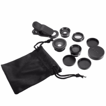 1PCS Universal 5in1 Clip Phone Camera Lens Kit Tele CPL Fisheye Wide Angle 2.0X Macro Black - intl