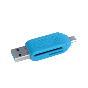 2-in-1 OTG Mikro SD Flash memori disebut TF Card Reader Micro USB 2.0 OTG untuk adaptor Android handphone tablet PC Komputer Biru