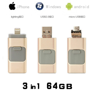 3 in 1 64GB Metal USB OTG Flash Drive U Disk Memory Stick for IOS iPhone and Android Phone (gold) - intl