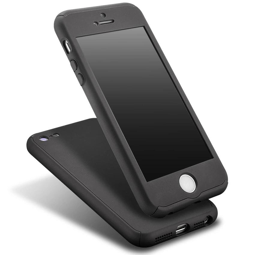 ... 360 Degree Full Body Protect Hard Slim Case Cover with Tempered Glass for iPhone 5/ ...