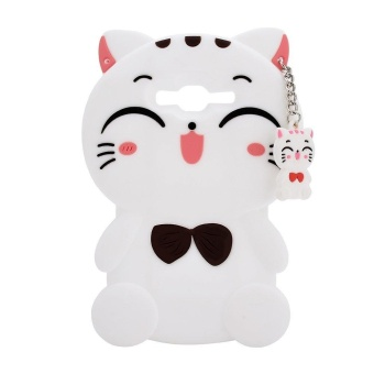 Harga Termurah 3D Cute Lucky Cat Smiling Fortune Cat Soft Silicon Back Cover CaseFor Samsung Galaxy