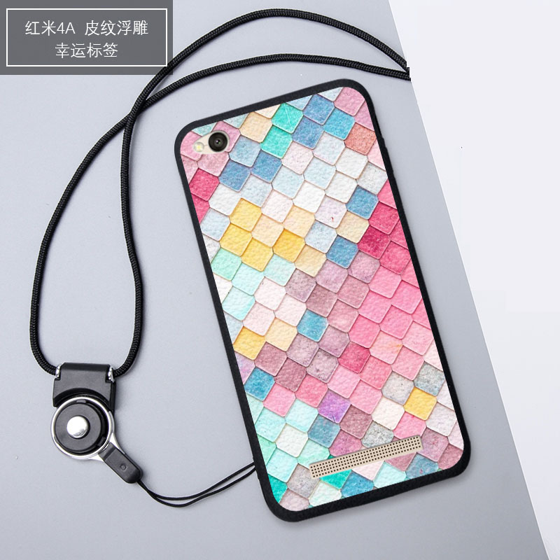 3D Relief Silica Gel Soft Phone Case for Xiaomi Redmi 4A with aRope ( Multicolor)