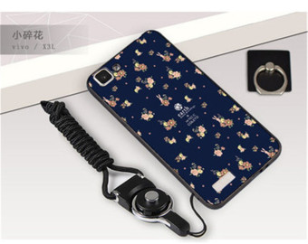 3D Relief TPU Soft Phone Case for VIVO X3/X3T/X3S/X3SW with a Ringand a Rope (Multicolor)