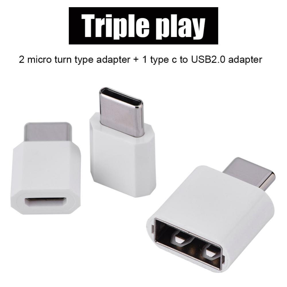 3PCS Micro USB Female to Type C USB 3.1 Male OTG Adapter ConverterSet .