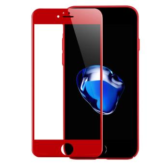 4D Full Curved Tempered Glass Warna Full Screen Cover Protector for Apple iPhone 7 Plus / 7s Plus - Red