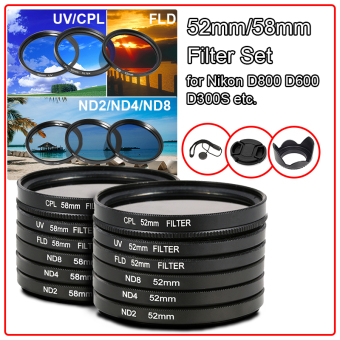 9 Buah Set Filter  Penutup Lensa 52mm For Nikon D7100 D5200