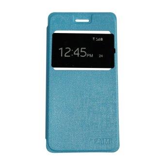 Aimi Leather Case Sarung Untuk Vivo Y21/Y22 Flipshell/Flipcover -Biru Muda