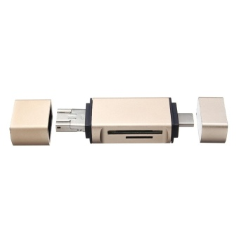Aluminum Alloy 3 in 1 Micro SD OTG Card Reader Type C Micro USBMulti-function Memory Card Reader Adapter Gold - intl