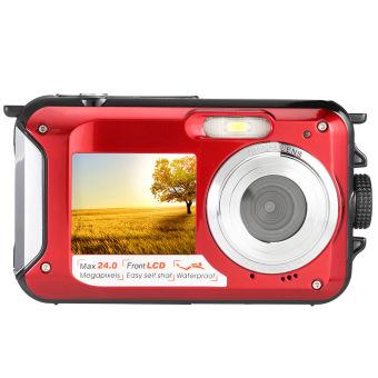 Amkov 24 Megapiksel 16 x Perkecil Tampilan Kamera Digital Camcorder Digital Perekam Video Tahan Air (Merah)