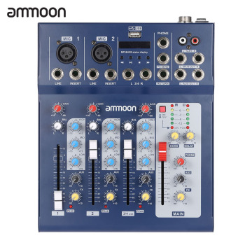 ammoon F - USB 3 Channel Audio Mixer pencampur mikrofon Digital Line konsol dengan 48 V kekuatan siluman untuk rekaman Karaoke DJ musik panggung apresiasi Outdoorfree - 2