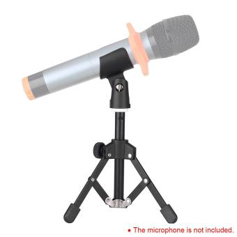 ammoon MS-12 Mini Foldable Adjustable Desktop Microphone Stand Tripod with MC5 Mic Clip Holder Bracket for Meeting Lectures Podcasts Outdoorfree - intl