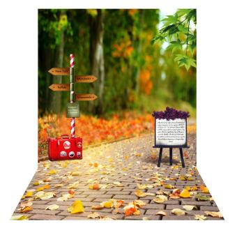 Andoer 1.5 * 2m Photography Background Backdrop Autumn Fallen Leaves Road Sign Pattern for Children Kids Baby Photo Studio Portrait Shooting Outdoorfree - intl