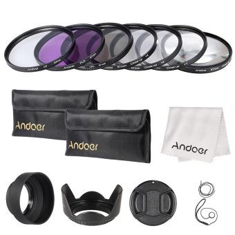 Andoer 67 mm/UV/CPL/FLD Close up (+ 1 + 2 + 4 + 10) menggunakan filter lensa kit dengan membawa kantong/Cap/tutup lensa lensa karet pemegang/Tulip dan kerudung/kain pembersih lensa