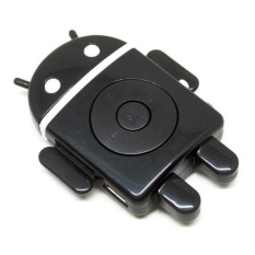 Android Robot MP3 Player TF Card with Small Clip - Hitam