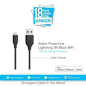 Anker PowerLine Lightning Mfi Certified Cable 3ft/0.9m - Hitam