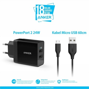Anker PowerPort 2 Dual Wall Charger + Micro USB 3ft - Hitam