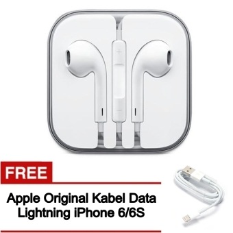 Apple Original Earphone Handsfree with Mic For apple iphone 5/5S/6 free Apple lightning for iPhone 6/6S
