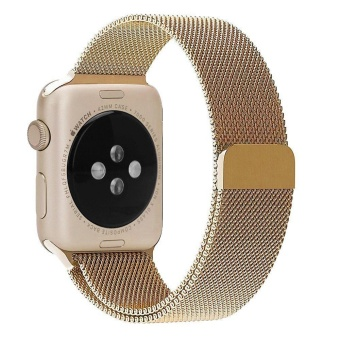 Apple Watch Band - 38mm gold Milanese Loop Stainless Steel Bracelet Strap Magnetic Closure Clasp - Replacement Wrist Band for iWatch Series 1 Series 2 Sport ...