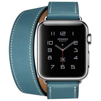 Apple Watch Hermes Double Tour 38mm Bleu Jean Band - Jam TanganUnisex - Biru