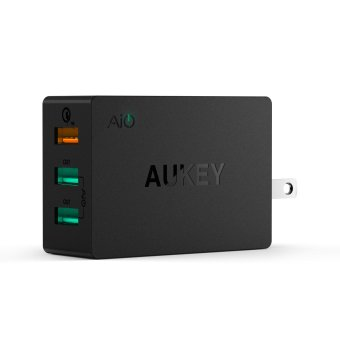 AUKEY PA-T2 42W 3 Port Wall Charger Universal Compatible with Qualcomm Quick Charge 2.0 (US) - Intl