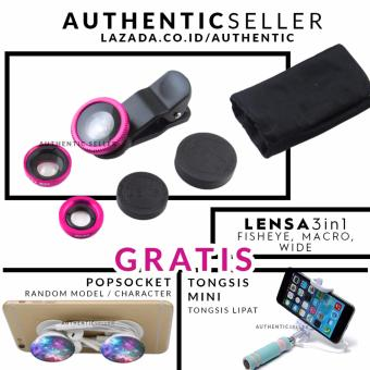 Authentic Lens 3in1 Fisheye - Wide - Macro Lensa Universal GratisTongsis Mini Holder U Lipat Tombol + Pop Socket / Popsockets