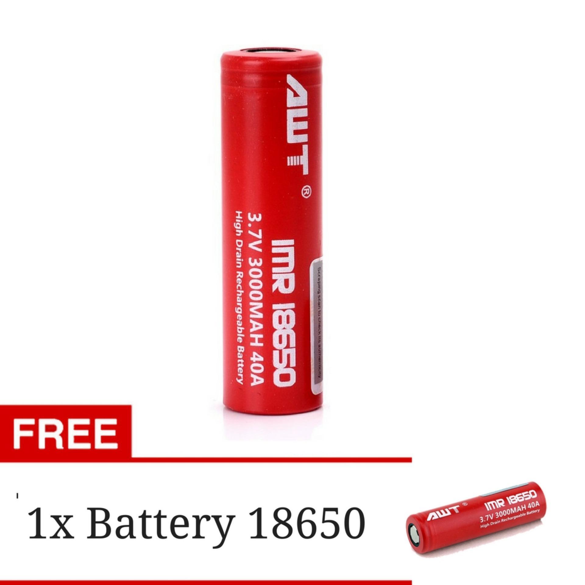 ... AWT Battery IMR 18650 3000 Mah 3.7V 40A Baterai Rokok Elektrik +GRATIS 1 Battery ...