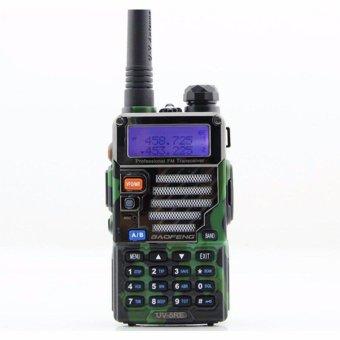 Baofeng Walkie Talkie Dual Band Two Way Radio 5W 128CH UHF+VHF BF-UV5RE Headset Free Alat Komunikasi Handy Talkie Camuflage Loreng Army - Hijau