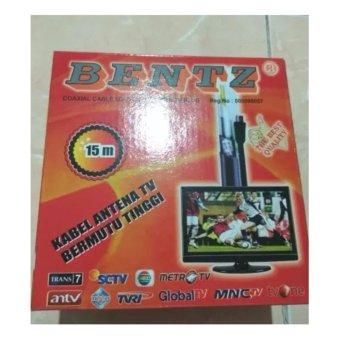 Bentz Antena Kabel Tv Coaxial Rg 6 5c 2v 75ohm 15m 15 Meter + Drat