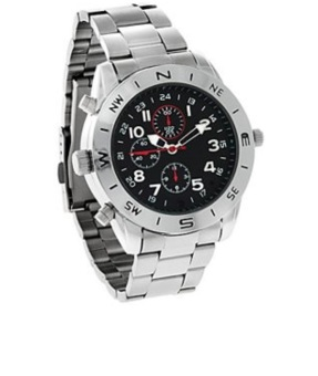 Best CT 8GB M5 Water Resistant Spy watch Metal Strap Camera Silver