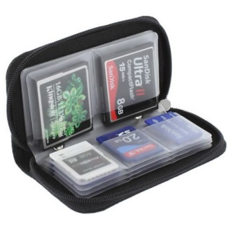 Harga Black Memory Card Storage Carrying Case Holder Wallet ForCF/SD/SDHC/MS/DS 3DS Game