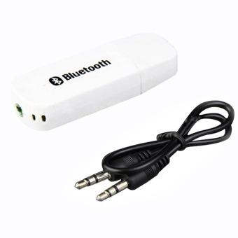 Bluetooth 2,1 + EDR USB 3.5 mm Stereo Audio musik pembicara adaptorreceiver Dongle (putih)