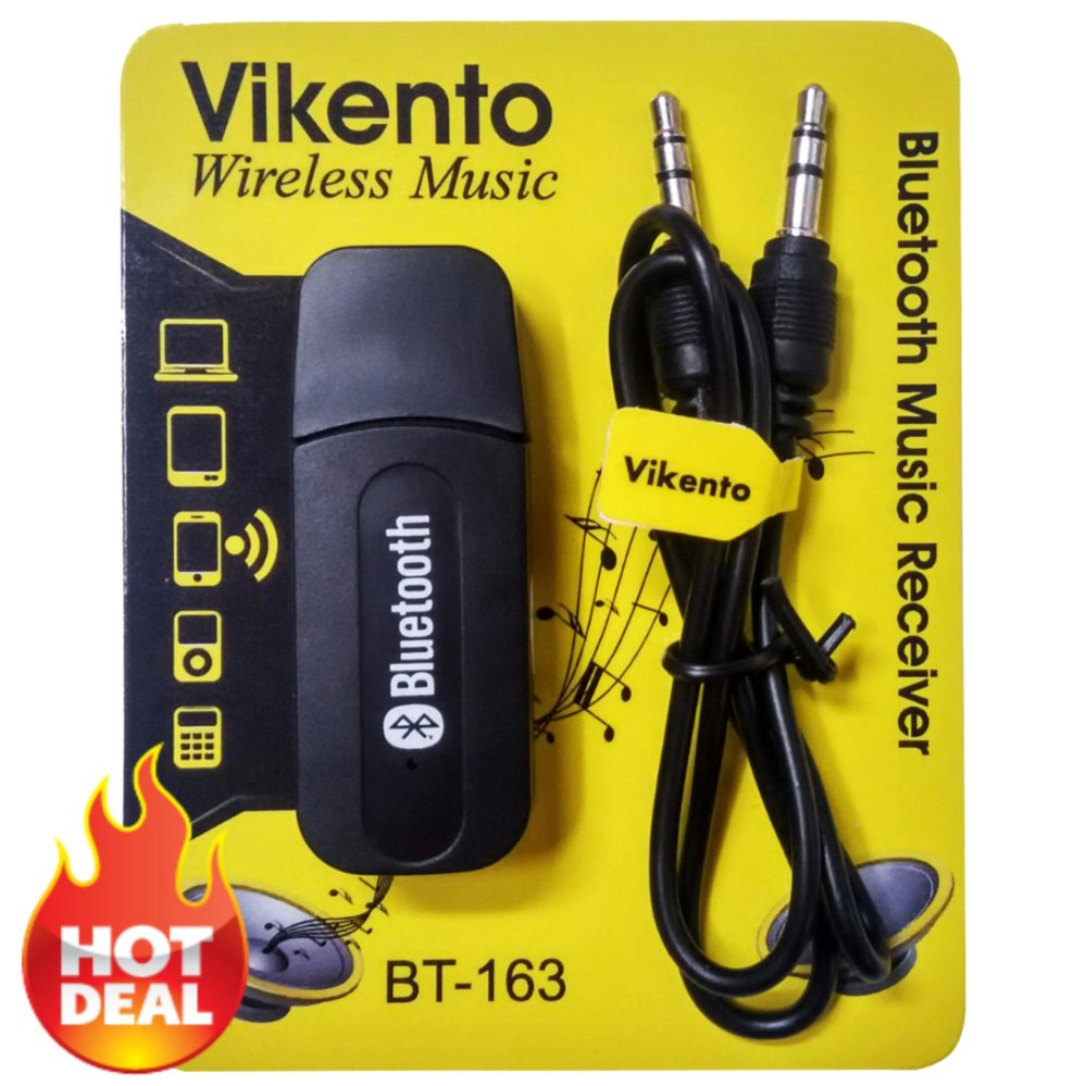 Bluetooth Audio Music Receiver 3.5mm Dongle Stereo - Hitam .